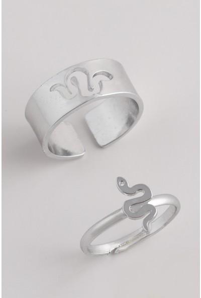 Sortie Accessories Çelik Yılan Figürlü Boyu Ayarlanabilir Çift Yüzük 001