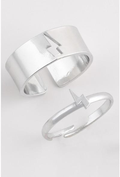 Sortie Accessories Çelik Yıldırım Figürlü Boyu Ayarlanabilir Çift Yüzük 006