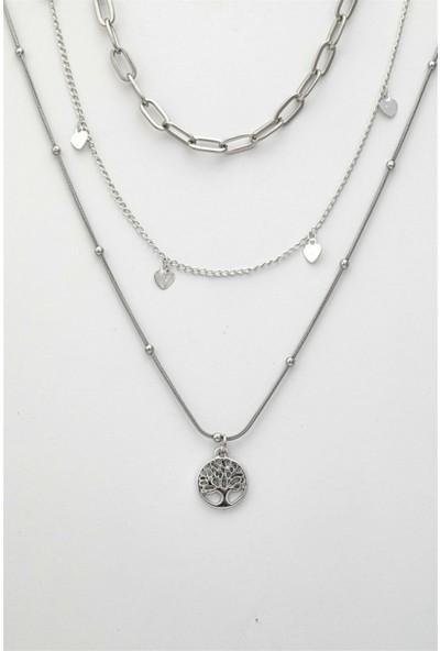 Sortie Accessories Yaşam Ağacı ve Kalp Figürlü Kombin Kolye 027 Gümüş Rengi