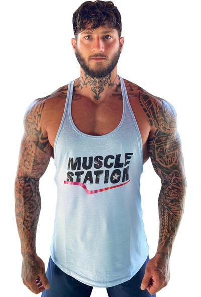 Musclestation Gym Toughman Tank Workout Baby Blue Fitness Spor Atlet