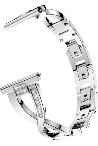 Markacase Huawei Watch Gt 2 42 mm Için Pırlanta Görünümlü Taşlı Metal Fantezi Bileklik Gümüş