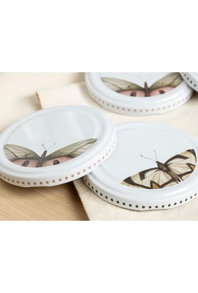 English Home Butterfly Metal 10'lu Kavanoz Kapağı 82 mm. Beyaz