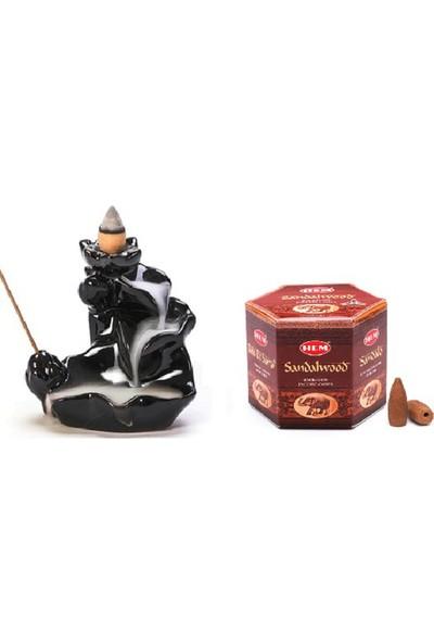 İyibifikir Zen Dekoratif Geri Akışlı Şelale Tütsülük 3-B + 40 Adet Hem Sandal Ağacı Aromalı Geri Akışlı Tütsü