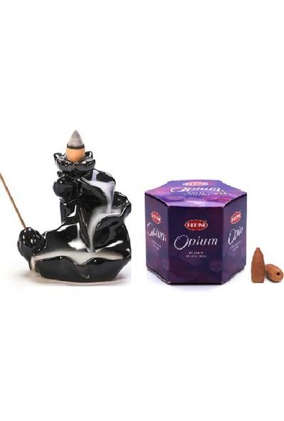 İyibifikir Zen Geri Akışlı Şelale Tütsülük 3-B + 20 Adet Hem Opium (Afyon) Aromalı Geri Akışlı Tütsü