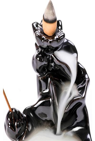 İyibifikir Zen Dekoratif Geri Akışlı Şelale Tütsülük 3-B + 20 Adet Hem Misk Aromalı Geri Akışlı Tütsü