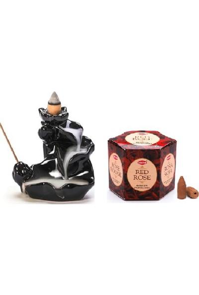 İyibifikir Zen Geri Akışlı Şelale Tütsülük 3-B + 40 Adet Hem Kırmızı Gül Aromalı Geri Akışlı Tütsü