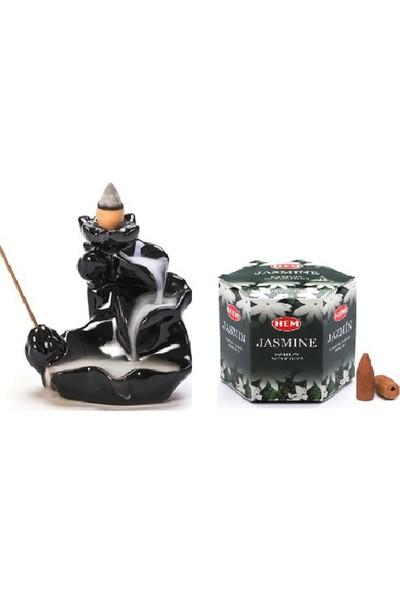 İyibifikir Zen Dekoratif Geri Akışlı Şelale Tütsülük 3-B + 40 Adet Şelale Tütsü Yasemin Çiçeği Aromalı