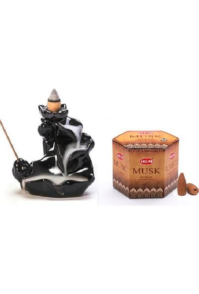 İyibifikir Zen Dekoratif Geri Akışlı Şelale Tütsülük 3-B + 40 Adet Hem Şelale Tütsü Misk Aromalı