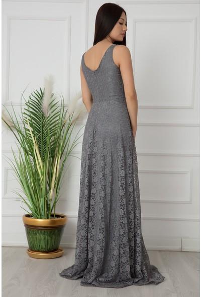 Kalopya Elans 13103 Dantel V Yaka Uzun Elbise