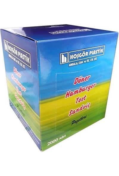 Hoşgör Plastik Hamburger Poşeti Kılıfı Tost Poşeti 14 x 14 (KUTU:2000'li)