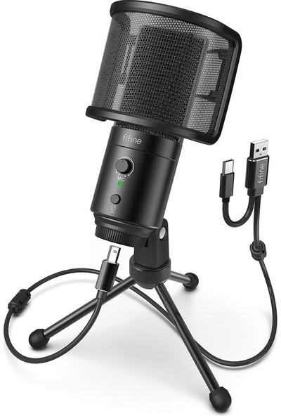 Fifine K683A Usb-Type C Profesyonel Telefon Pc Mikrofonu