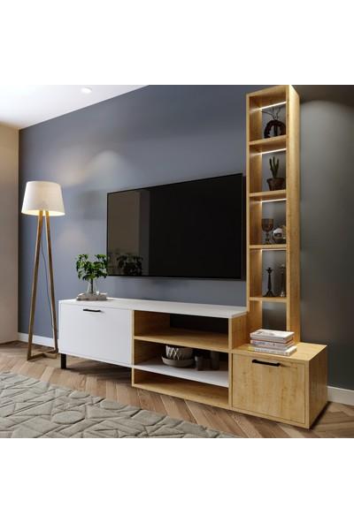 Lacivert Reklam 3 Raflı Tv Ünitesi Safir Meşe 180*55*40