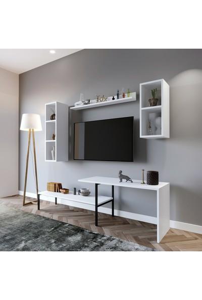 Lacivert Reklam Shop 180*150*40 Meltem Tv Ünitesi Beyaz