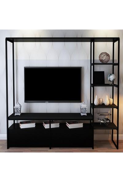 Lacivert Reklam 180*180*40 Akbora Tv Ünitesi Siyah