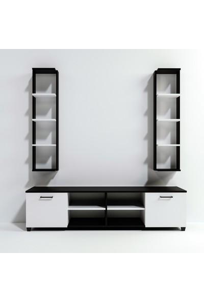 Lacivert Reklam Çift Raflı Tv Ünitesi Siyah Beyaz 180*55*40