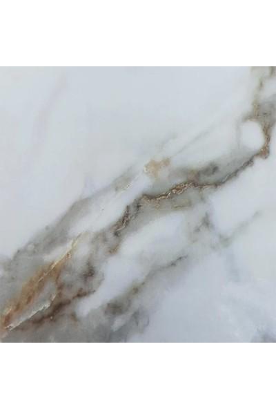 Keyfi Sepet Mermer Desenli Yapışkanlı Mutfak Tezgah Üstü Folyo Beyaz
