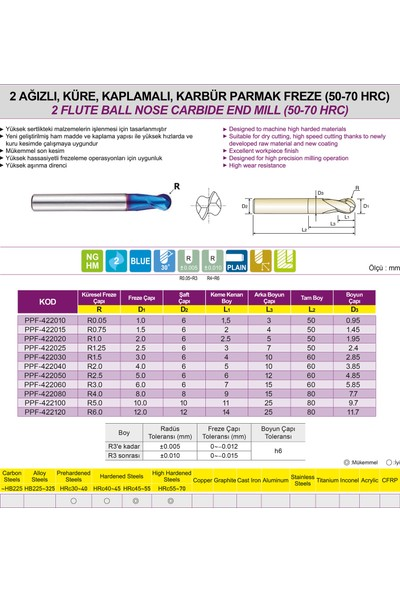 PROX Pro-X Karbür Parmak Freze - Küresel / 2 Ağızlı (50-70HRC) Ø1 mm - R0.05