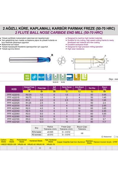 PROX Pro-X Karbür Parmak Freze - Küresel / 2 Ağızlı (50-70HRC) Ø2.5 Mm- R1.25