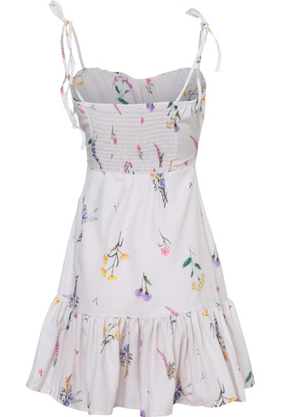 Quzu Çiçekli Volanlı Mini Elbise Taş