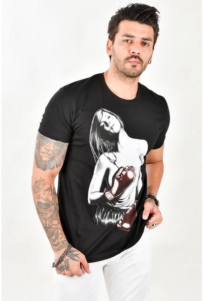 Deepsea Siyah Boksör Eldiven Baskılı Erkek Tişört 1701010