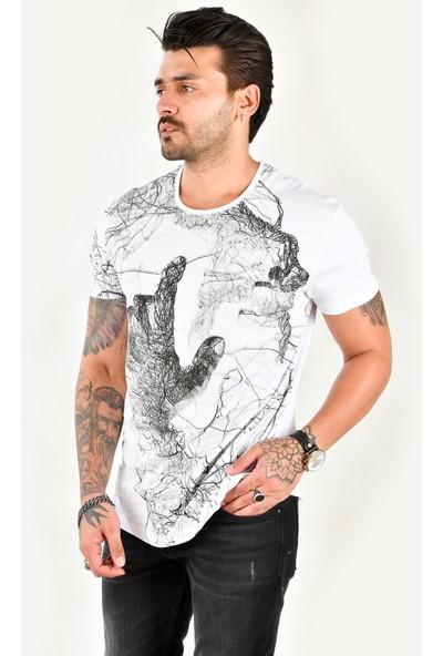 Deepsea Beyaz El Figürlü Baskılı Erkek Tişört 1901992