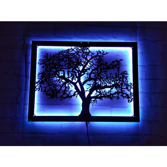MF Tasarım Rgb Kumandalı Hayat Ağacı LED Işıklı Ahşap Mdf Dekoratif Tablo 50X35