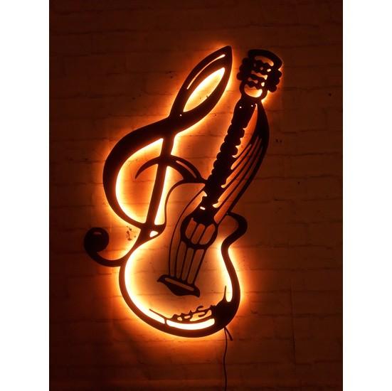 MF Tasarım Rgb Kumandalı Gitar Sol Anahtar LED Işıklı Ahşap Mdf Dekoratif Tablo 50X35