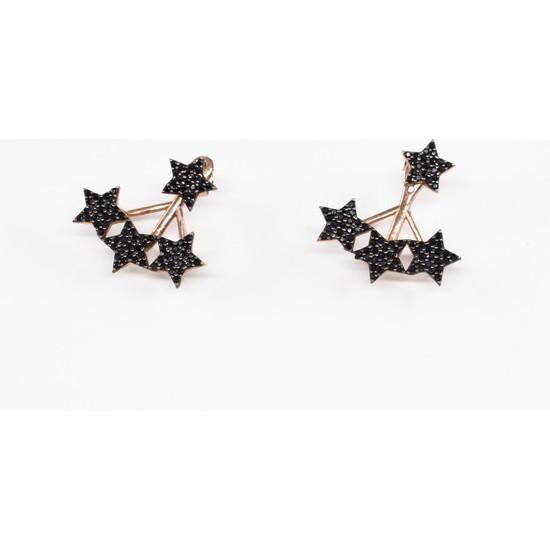 Lili Pırlanta Kadın 925 Ayar Gümüş Yıldız Tasarımlı Siyah Küpe GKP00018-004