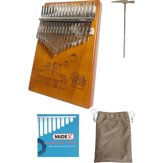 Midex KLX-456 Hakiki Maun Ağacı Kalimba 17 Çelik Tuşlu (Türkçe Metod Çanta Çekiç)