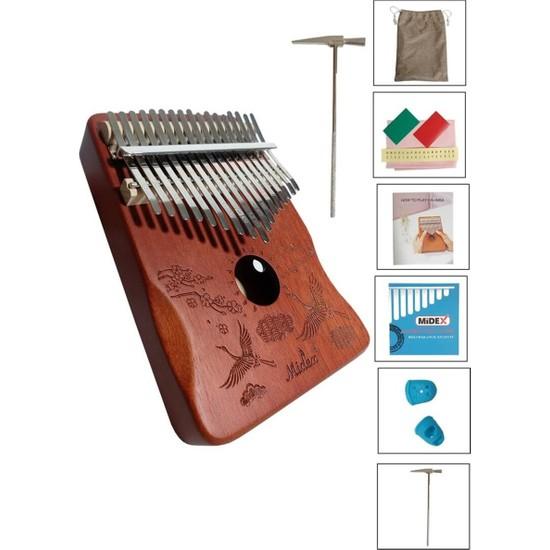 Midex KLX-501 Hakiki Ağaç Kalimba Full Set 17 Tuşlu (Metod Çanta Çekiç)