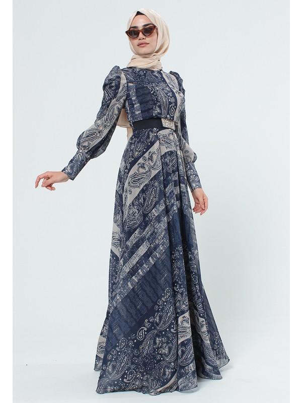 SETRMS Lacivert Etnik Desenli Kemerli Elbise 2125058