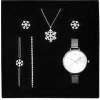 Apollon Gift Gümüş Kaplama Kar Tanesi Kolye & 2'li Küpe & 2'li Bileklik & Saat Seti