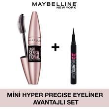 Maybelline New York Lash Sensational Yelpaze Etkili Intense Black Maskara + Hyper Precise Mini Eyeliner