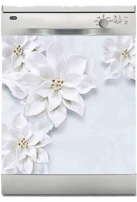 Sticker Art Bulaşık Makinesi Sticker Kaplama Beyaz Eşya Kaplama 3D Beyaz Yapraklar