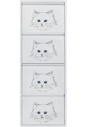 Kaser Metal 4'lü Metal Ayakkabılık Kedi
