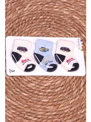 Breeze Erkek Bebek Yenidoğan Çorap 3 Lü Desenli Karışık Renk