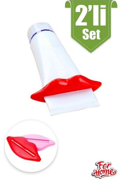 Ferhome Diş Macunu ve Krem Sıkacağı 2'li Set Dudak Tasarımlı