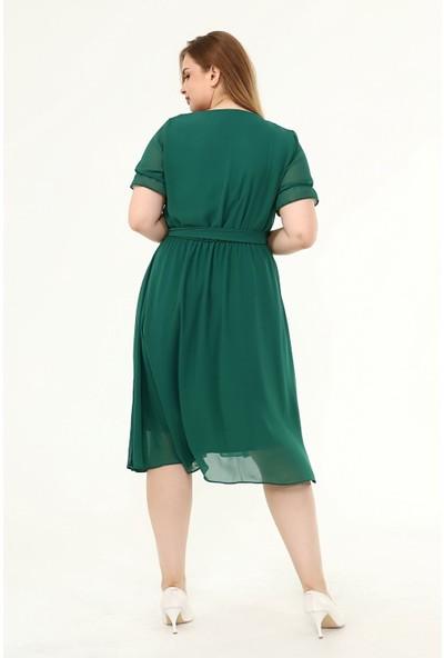 Modayız Kruvaze Yaka Büyük Beden Şifon Elbise 29E-1822