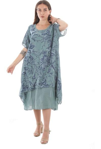 İtalyan Kadın Yazlık Italyan Etnik Otantik Pamuklu Ipek Karışımı Buldan/şile Bezi Yarım Kollu Elbise