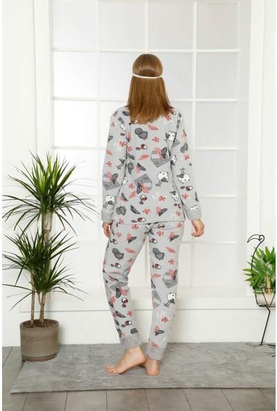 Akbeniz Welsoft Polar Kadın Manşetli Pijama Takımı 8409