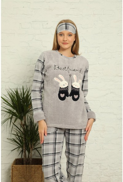 Akbeniz Welsoft Polar Kadın Manşetli Pijama Takımı 8438