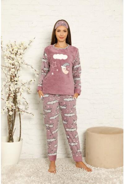 Akbeniz Welsoft Polar Kadın Manşetli Pijama Takımı 8446
