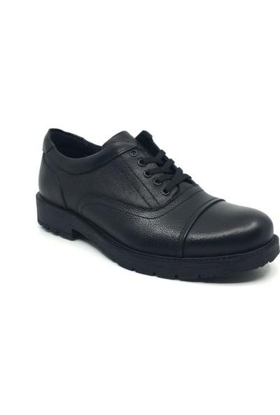 Rota Deri Bağcıklı Rahat Erkek Günlük Kışlık Klasik Ayakkabı 39-47 40 Siyah