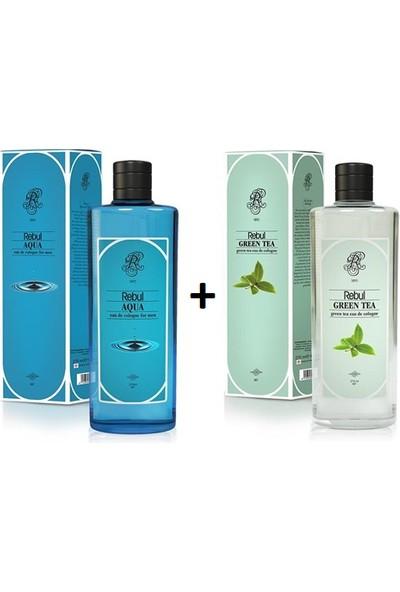 Rebul Kolonya Aqua 270 ml Cam Şişe & Rebul Kolonya Green Tea 270 ml Cam Şişe