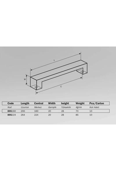 Çebi 895 Modern Mobilya Kulbu Inox 224 mm