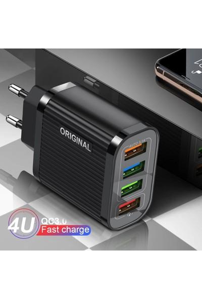 Judas C6 Çoklu Şarj Adaptörü + J2 Micro USB 5A Şarj Kablosu - 2 mt