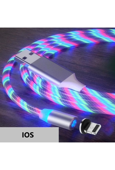 Judas A6 Çoklu Şarj Adaptörü + Ios Magnetic Akan LED Işıklı Şarj Kablosu - 1 mt