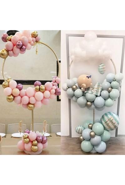 Happyland Çubuk Üzerine Balon Süsleme Standı Yuvarlak Hulalop Model 1.6 Metre Süs Standı