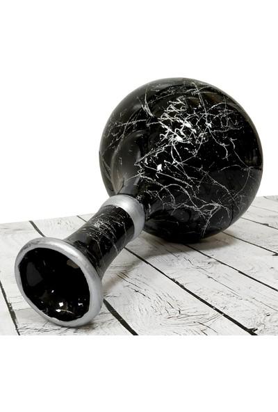 Otogar Çini El Yapımı 30 cm Mermer Desenli Çini Gözyaşı Vazo Gümüş Yaldızlı-Kütahya Çinisi