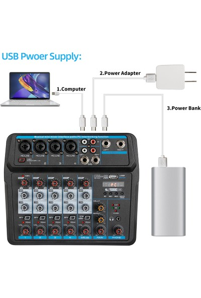 Fairy Kompakt 6 Kanallı USB Dijital Mixer (Yurt Dışından)